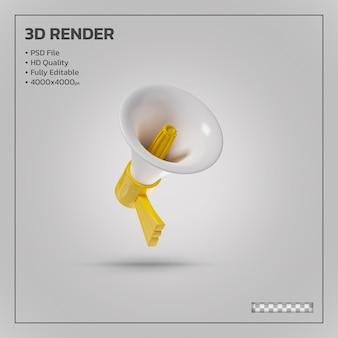 Megafoon en luidspreker gele realistische 3d-rendering geïsoleerd