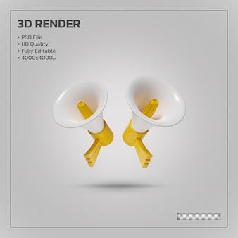 Megafoon gele realistische 3d-rendering geïsoleerd