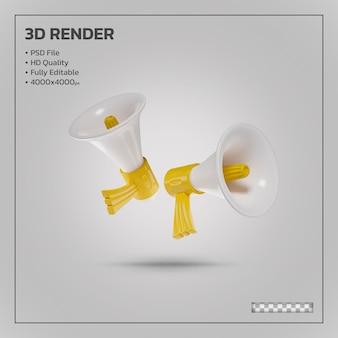 Megafoon scene maker gele realistische 3d-rendering geïsoleerd