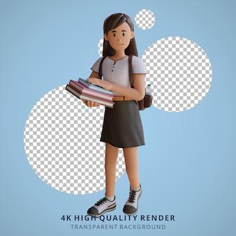 Meisje terug naar school mascotte 3d karakter illustratie met een boek