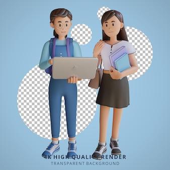 Meisje terug naar school mascotte 3d karakter illustratie