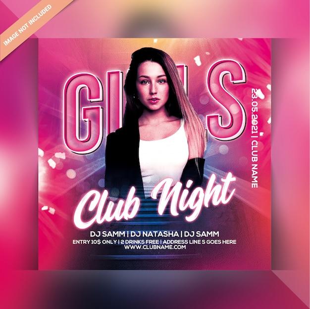Meisjes club nacht feest flyer
