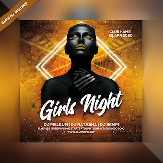 Meisjes nachtfeest flyer