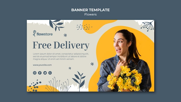 Mejor banner de entrega gratuita de floristería