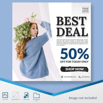 Mejor oferta de descuento de moda oferta banner cuadrado o plantilla de publicación de instagram