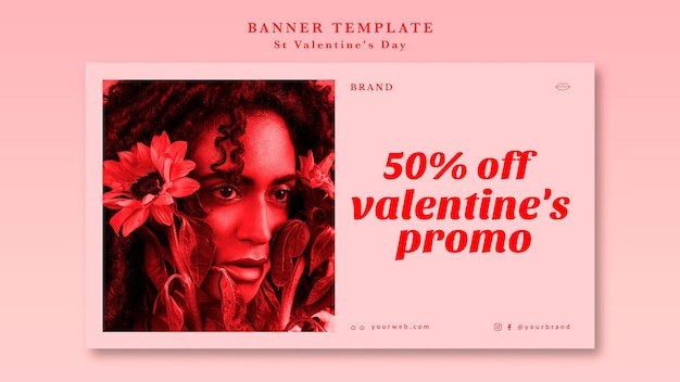 La mejor oferta de san valentín con plantilla de banner de mujer