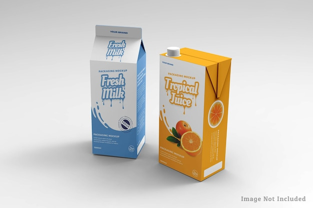 Melk- en sapdoosontwerp mockup-ontwerp