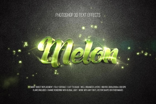 Meloen 3d-teksteffecten