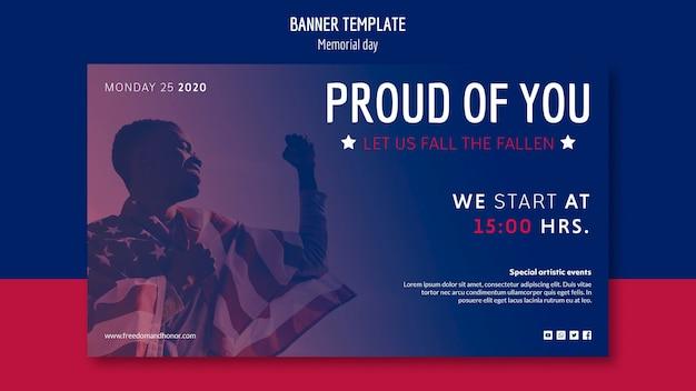 Memorial day banner template thema Gratis Psd