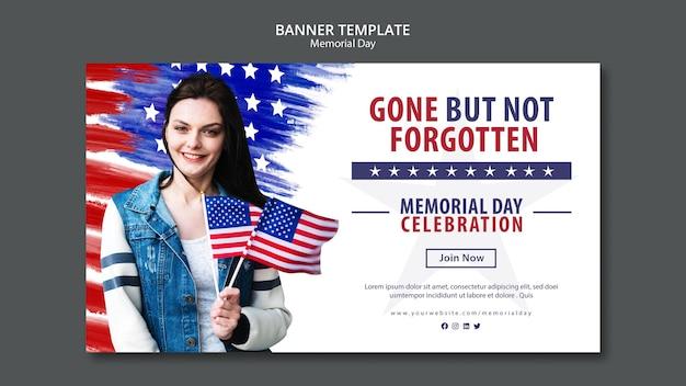 Memorial day concept sjabloon voor spandoek