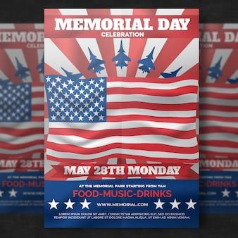 Memorial day flyer-sjabloon
