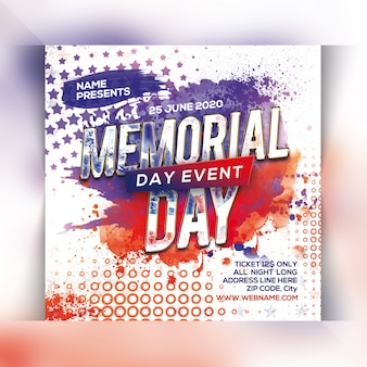 Memorial day flyer-sjabloon