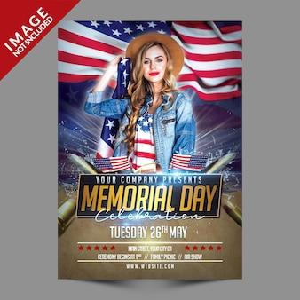 Memorial day viering flyer sjabloon
