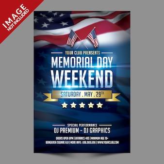 Memorial day weekend flyer-sjabloon
