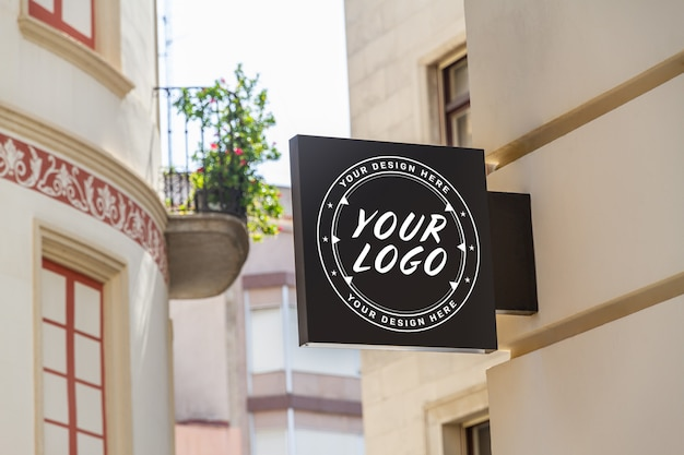 Memorizzare il logo del marchio segno mockup
