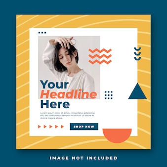 Memphis-stijl mode sociale media instagram feed post banner Premium Psd