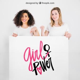 Meninas, segurando, whiteboard