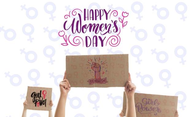 Mensaje del día de las mujeres en el tablero de dibujos animados