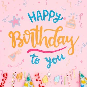 Mensaje de feliz cumpleaños con fondo festivo