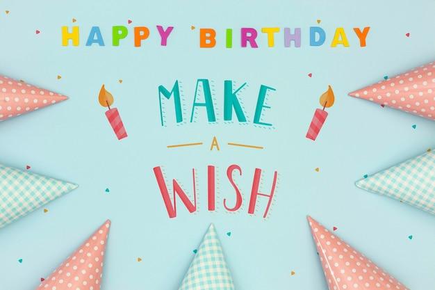 Mensaje de feliz cumpleaños de maqueta