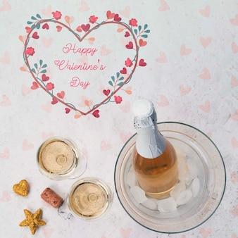Mensaje de feliz día de san valentín con botella de champagne