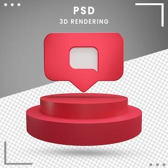 Mensaje de logotipo girado 3d rojo instagram