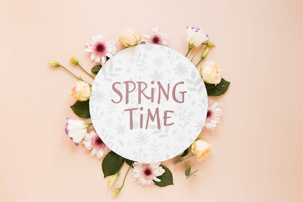 Mensaje de primavera con flores