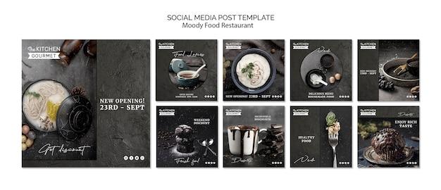 Mensaje de redes sociales de restaurante de comida cambiante