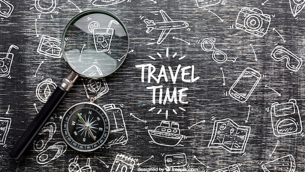 Mensaje de tiempo de viaje en dibujo monocromo