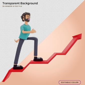 Mensen rennen naar hun doel op de trap, gaan motivatie omhoog, het pad naar de prestatie van het doelwit. 3d illustratie