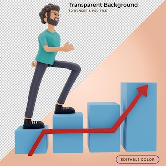Mensen rennen naar hun doel op de trap, gaan motivatie omhoog, het pad naar de prestatie van het doelwit. 3d illustratie Premium Psd