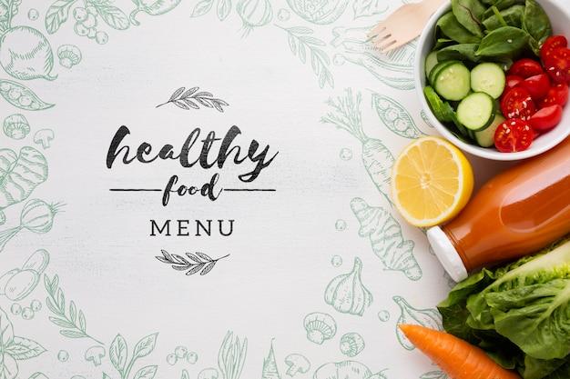 Menú de alimentos frescos y saludables para la dieta.