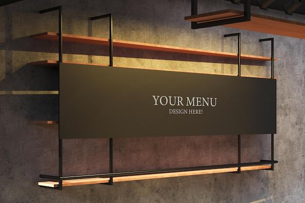 Menú de banner de maqueta de una cafetería con diseño interior industrial y pared de cemento