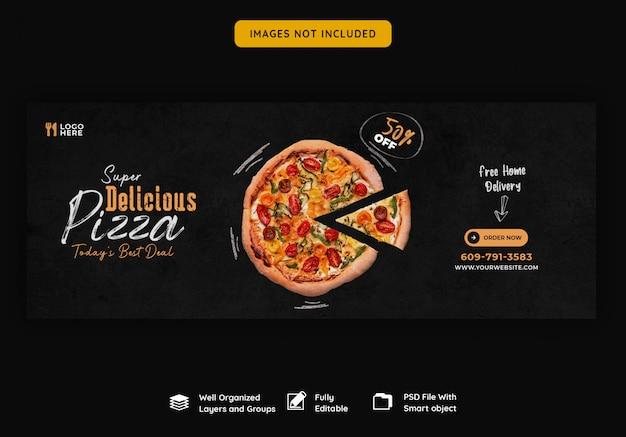 Menu cibo e deliziosa pizza modello di copertina facebook