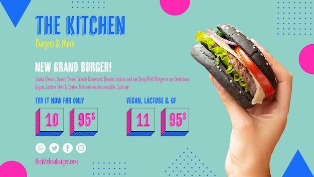 Menú de cocina deliciosa hamburguesa