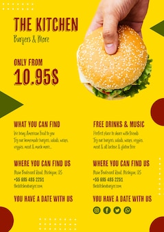 Menú de cocina con hamburguesa americana