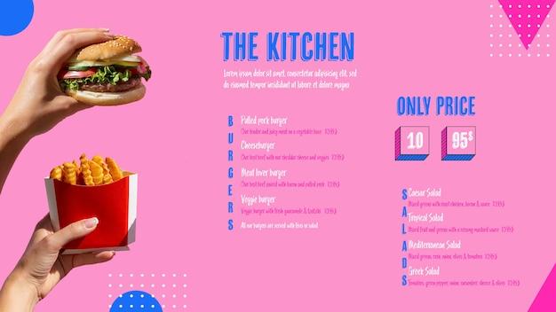 Menú de cocina moderna con foto