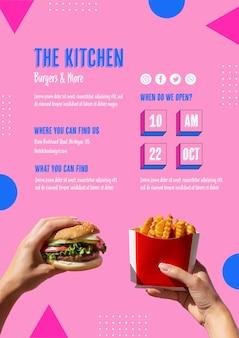 Menú de comida americana con hamburguesas y papas fritas