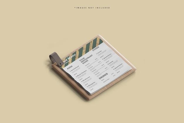 Menú de comida cuadrada en una maqueta de tabla de madera