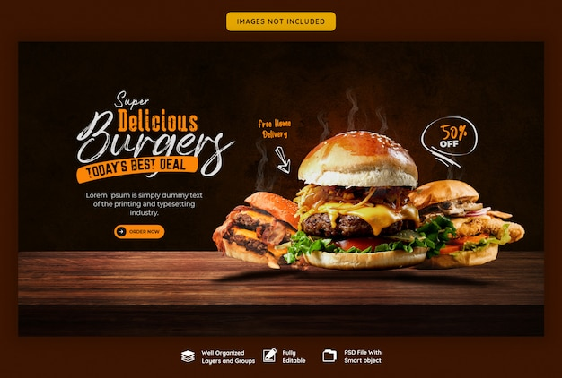 Menú de comida y deliciosa plantilla de banner web de hamburguesas