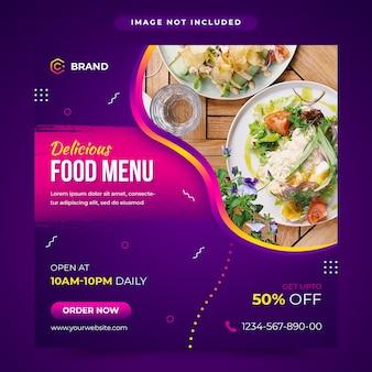 Menú de comida deliciosa redes sociales y plantilla de banner web