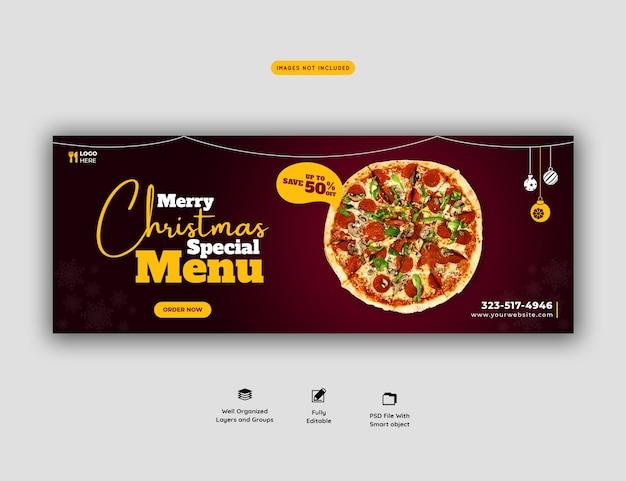 Menú de comida de feliz navidad y deliciosa pizza plantilla de banner de portada de facebook