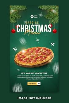 Menú de comida navideña publicación en redes sociales plantilla de historias de instagram