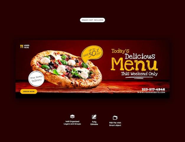 Menú de comida y plantilla de banner de portada de pizza deliciosa