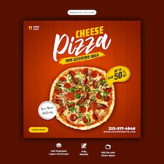 Menú de comida y plantilla de banner de redes sociales de pizza de queso