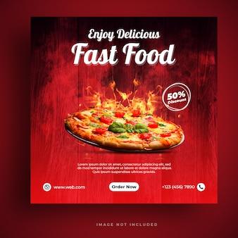 Menú de comida y plantilla de banner de redes sociales de pizza de restaurante
