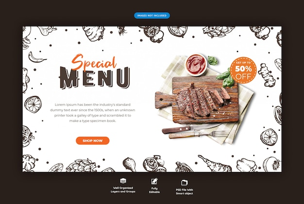 Menú de comida y plantilla de banner web de restaurante