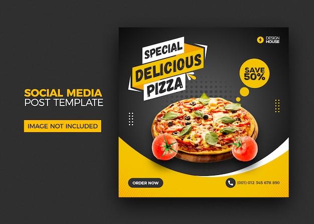 Menú de comida y plantilla de publicación de banner de redes sociales de restaurante