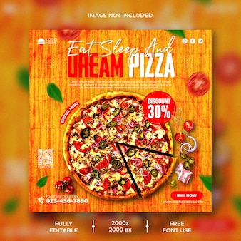 Menú de comida y plantilla de publicación de instagram de pizza deliciosa