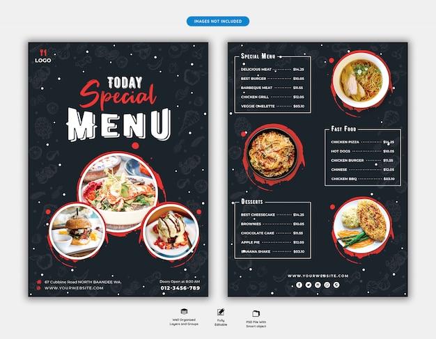 Menú de comida y plantilla de volante de restaurante